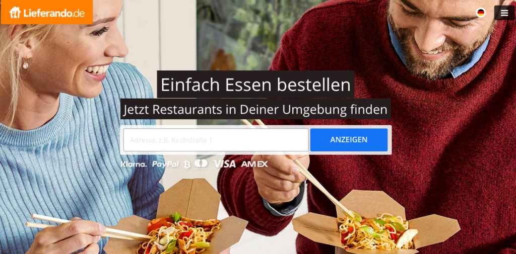 buy takeaway pizza in Germany with Lieferando