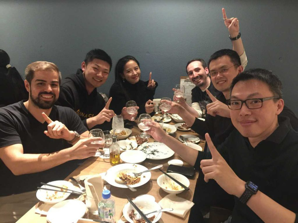 Binance staff celebrate becoming the biggest crypto exchange
