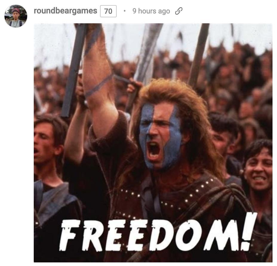 imagem de Mel Gibson em 'Coração Valente' gritando por liberdade