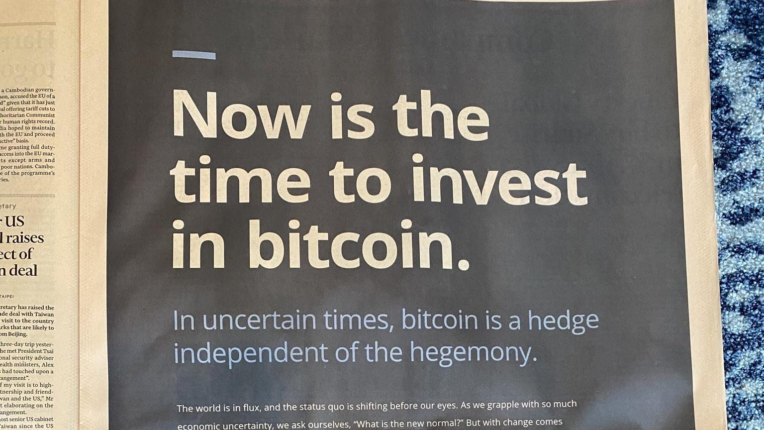 Buy Bitcoin, screams Galaxy's huge ad in the Financial Times - Decrypt