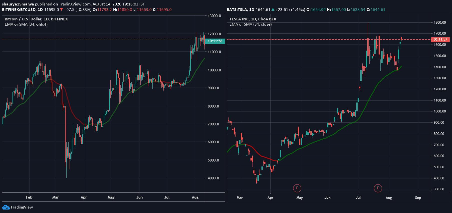 Price chart of Bitcoin and Tesla