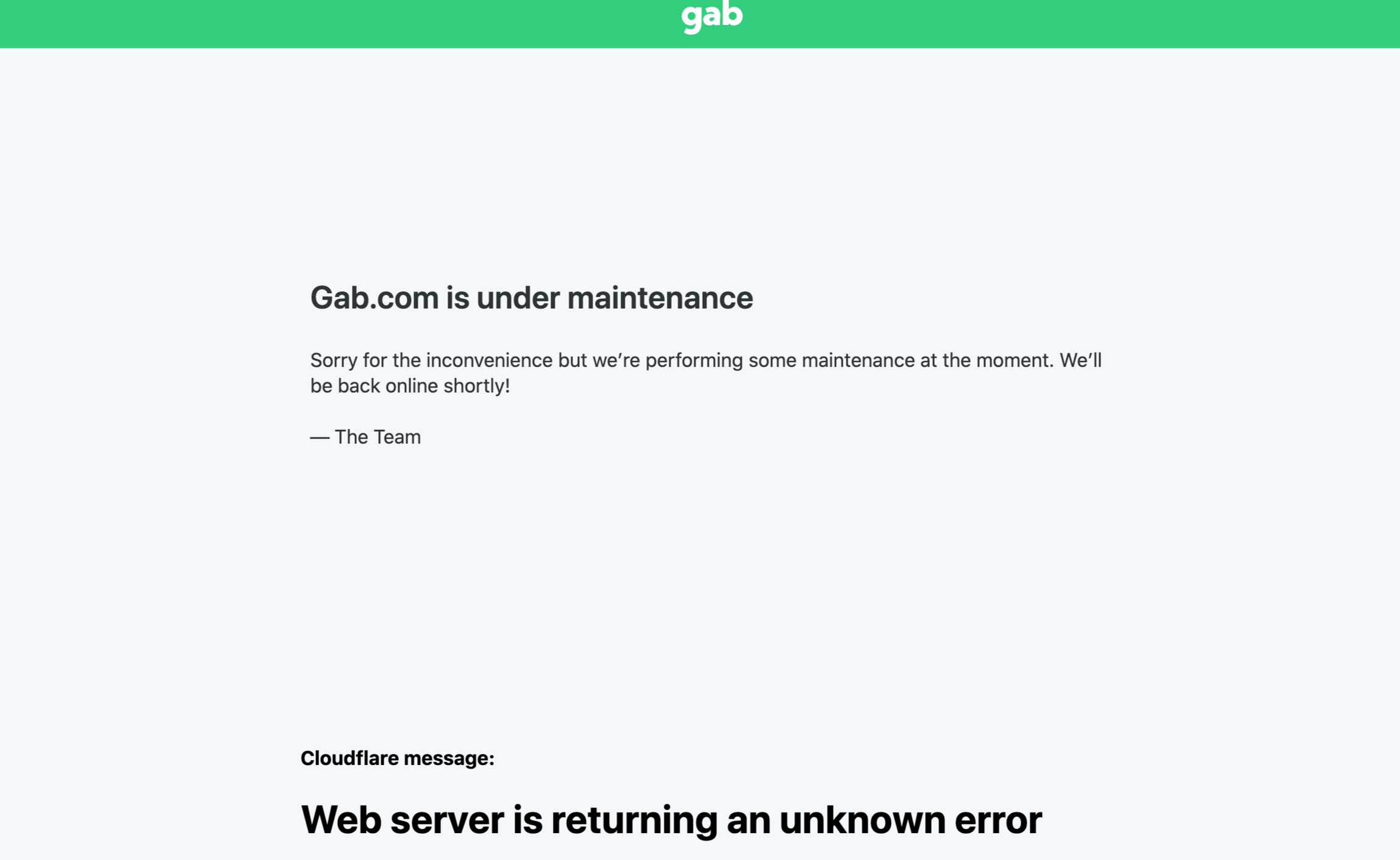 gab maintenance message