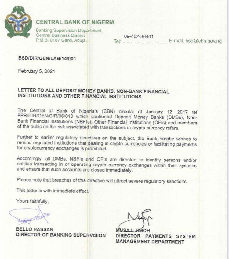La lettre envoyée par la Banque centrale du Nigéria.